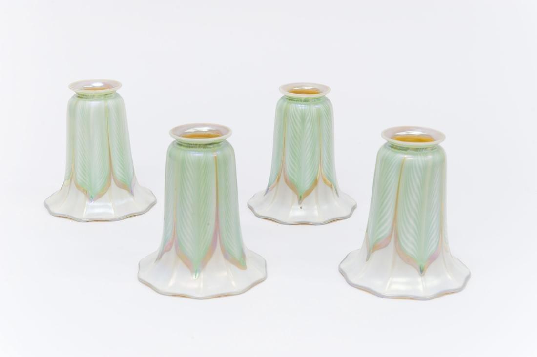 (4) Quezal Art Glass Lamp Shades.