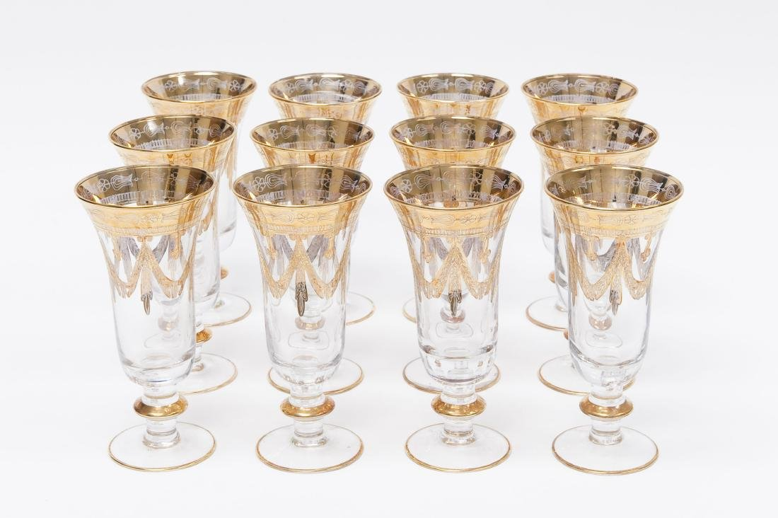 (12) Gilt and Crystal Champagne Glasses.