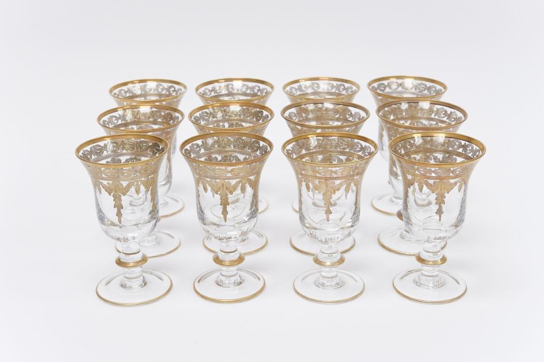 (12) Gilt and Crystal Wine Glasses.