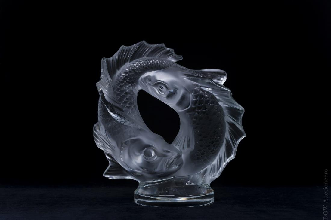 Lalique Crystal Double Fish Sculpture.