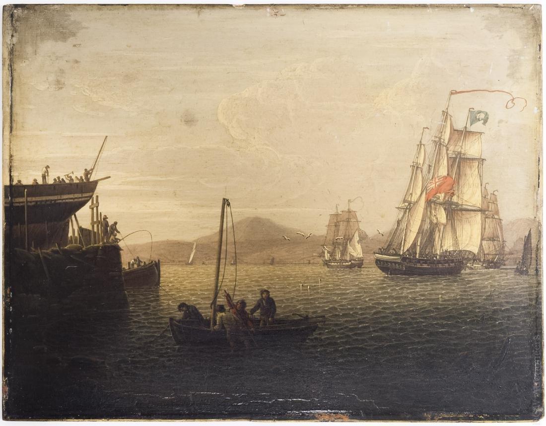 Robert Salmon Oil on Panel, Sailing Ships.