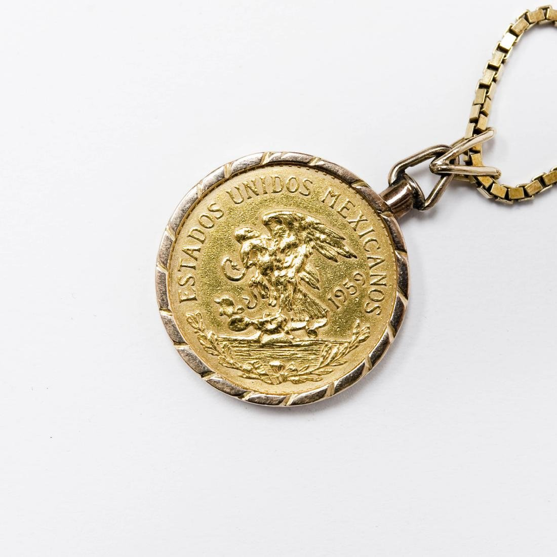 1959 Mexico 20 Pesos Gold Coin with Chain.