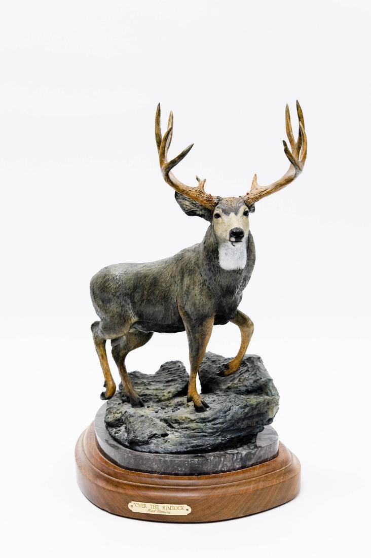 Karl Lansing Bronze Sculpture, Mule Deer.