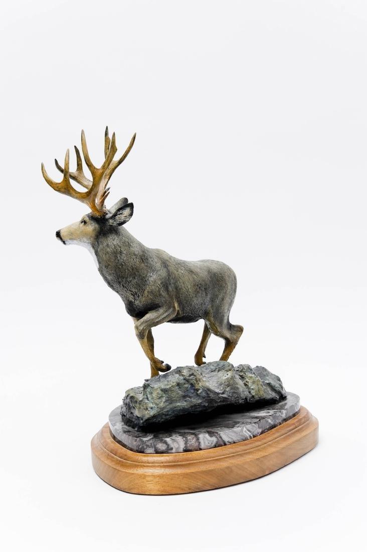 Karl Lansing Bronze Sculpture, Mule Deer. - 2