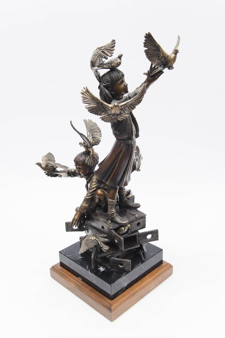 George Lundeen Bronze, Boy & Girl with Doves.