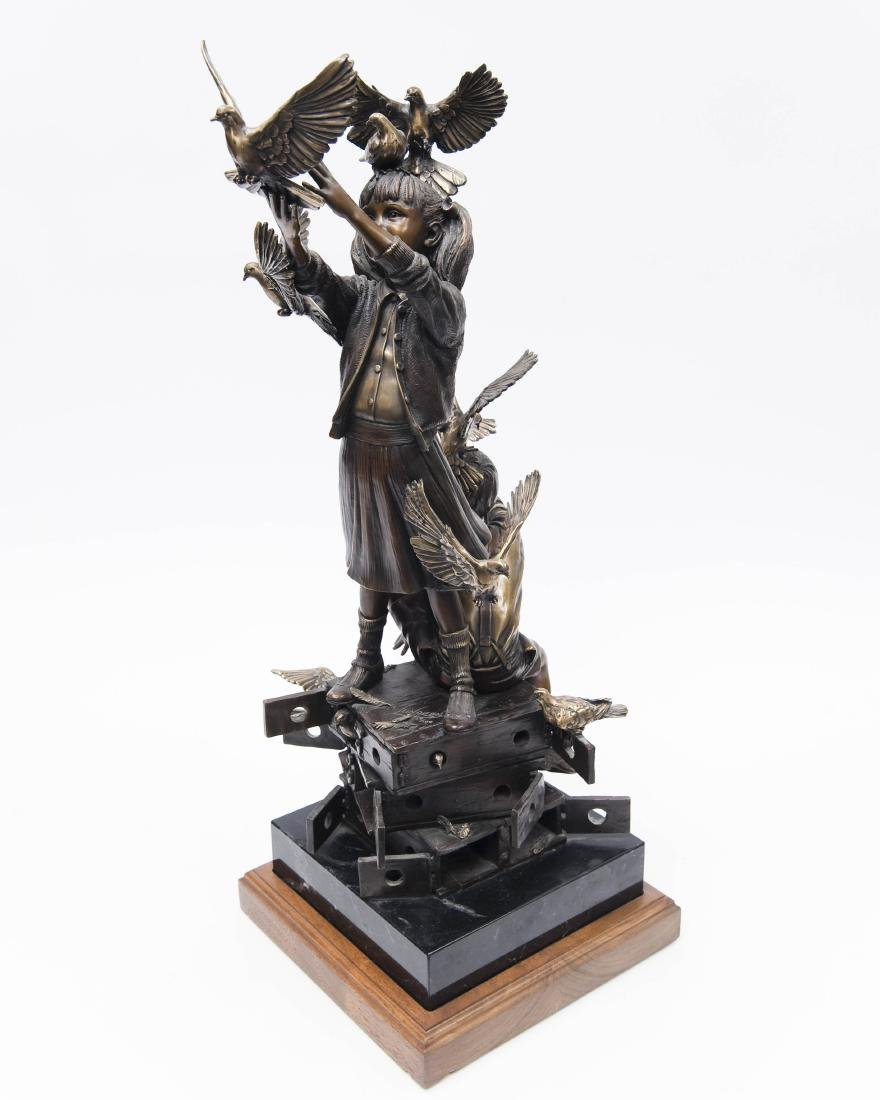 George Lundeen Bronze, Boy & Girl with Doves. - 2