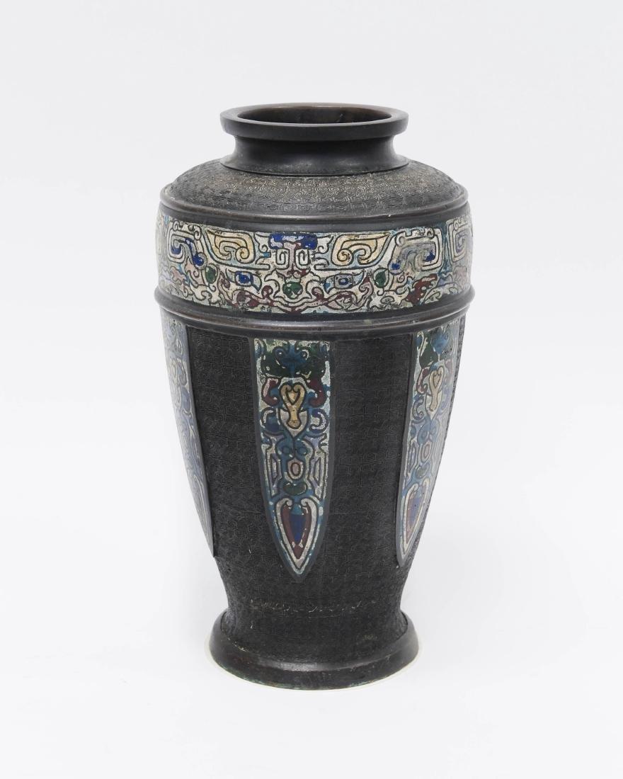Japanese Meiji Period Bronze Vase. - 2