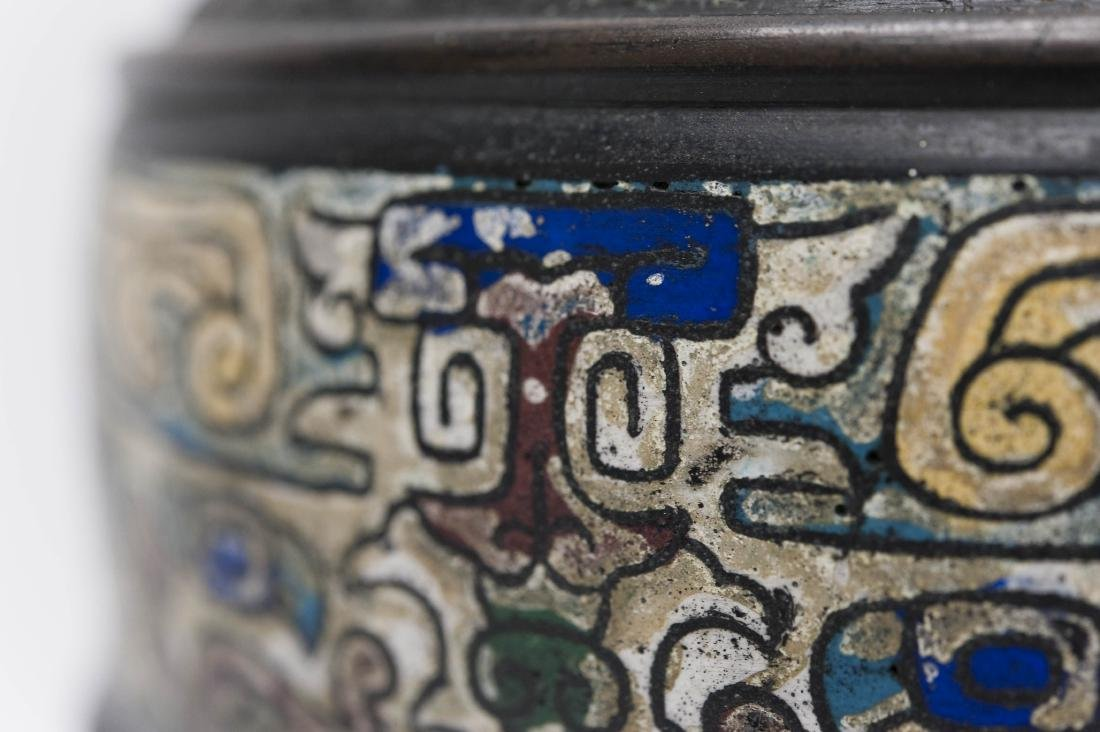 Japanese Meiji Period Bronze Vase. - 4