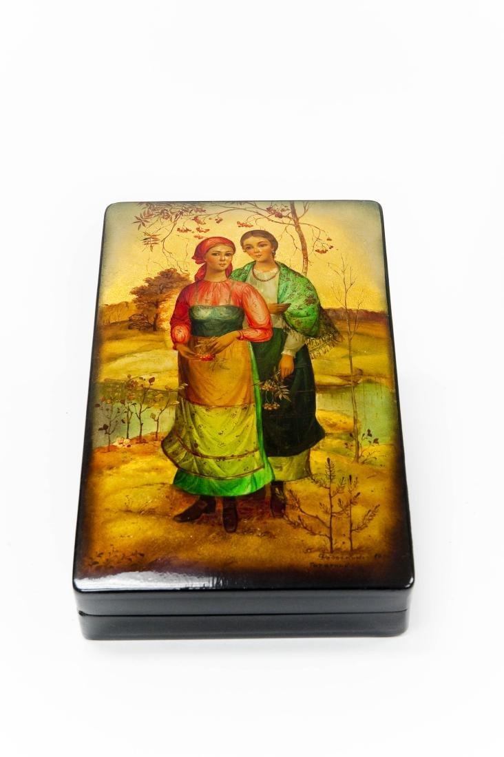 Tatarkina Fedoskino Russian Lacquer Box.