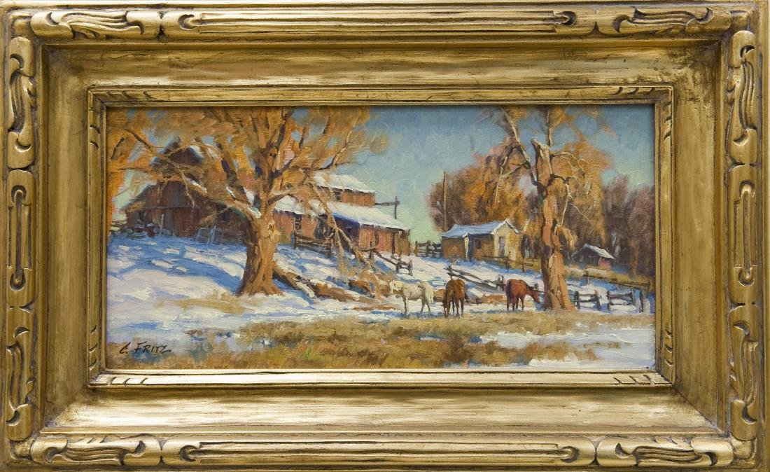 Charles Fritz, Oil on Board, Foraging Horses.
