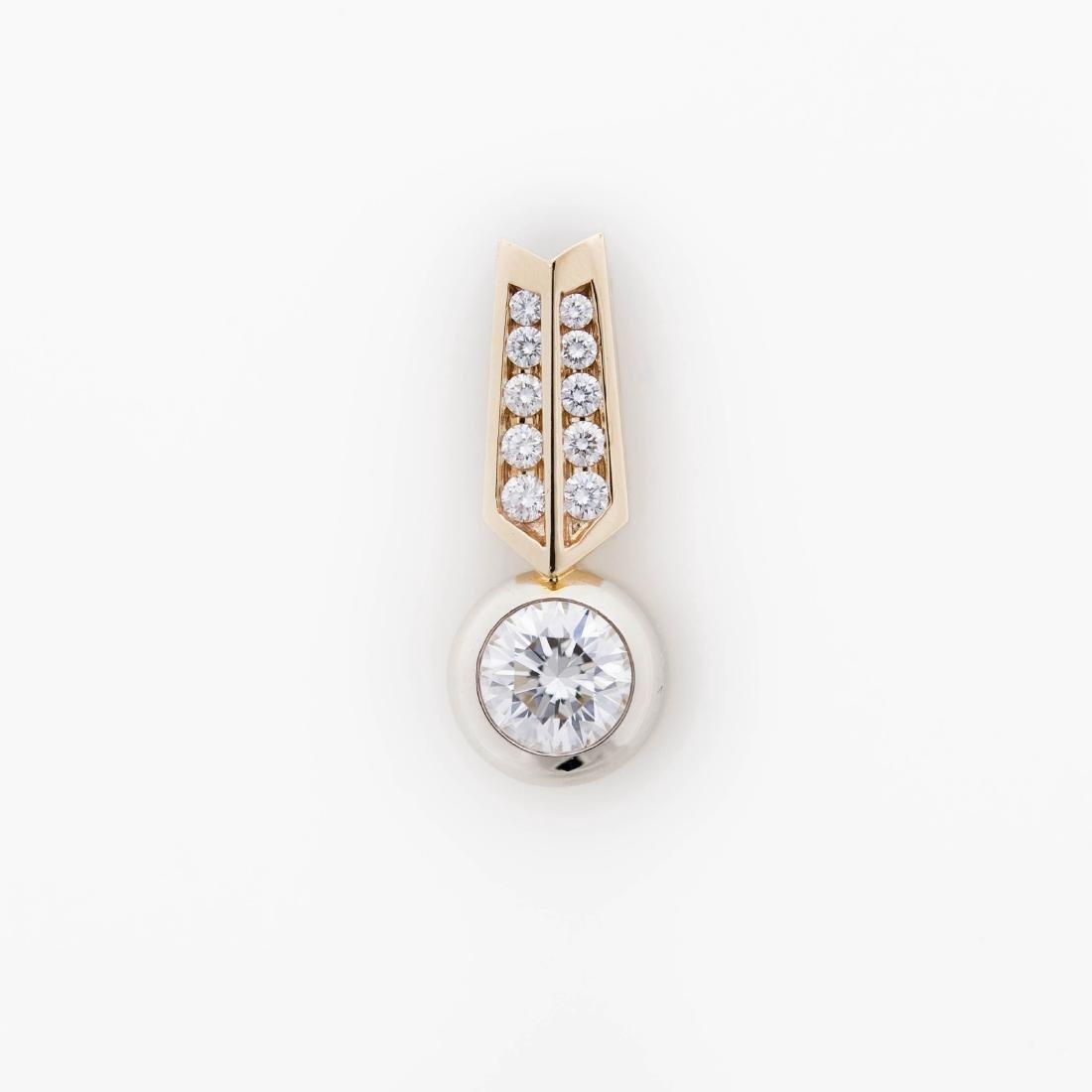 Ladies' Custom 14K Gold and Diamond Slider.