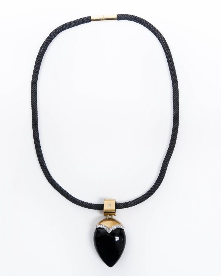Custom 18K Yellow Gold Onyx Pendant Necklace.