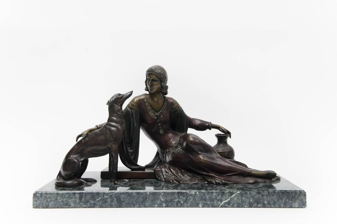 Art Deco Bronze, lady with Greyhound.