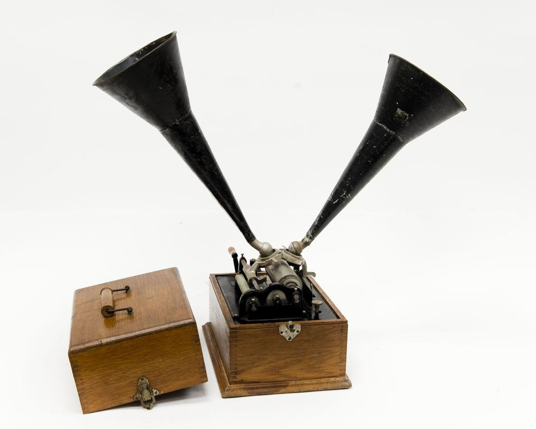 """Edison """"Suitcase"""" Gramophone, Polyphone Reproducers. - 2"""