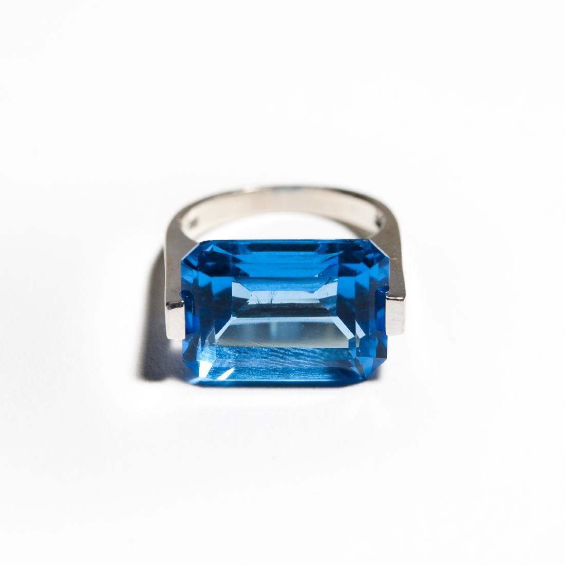 14K White Gold & Blue Topaz Ring.