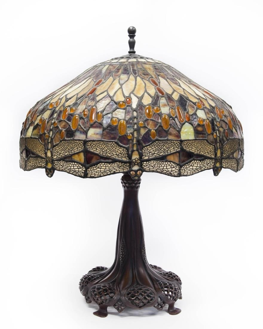 Tiffany Style Stained Glass Table Lamp on Bronze Base.