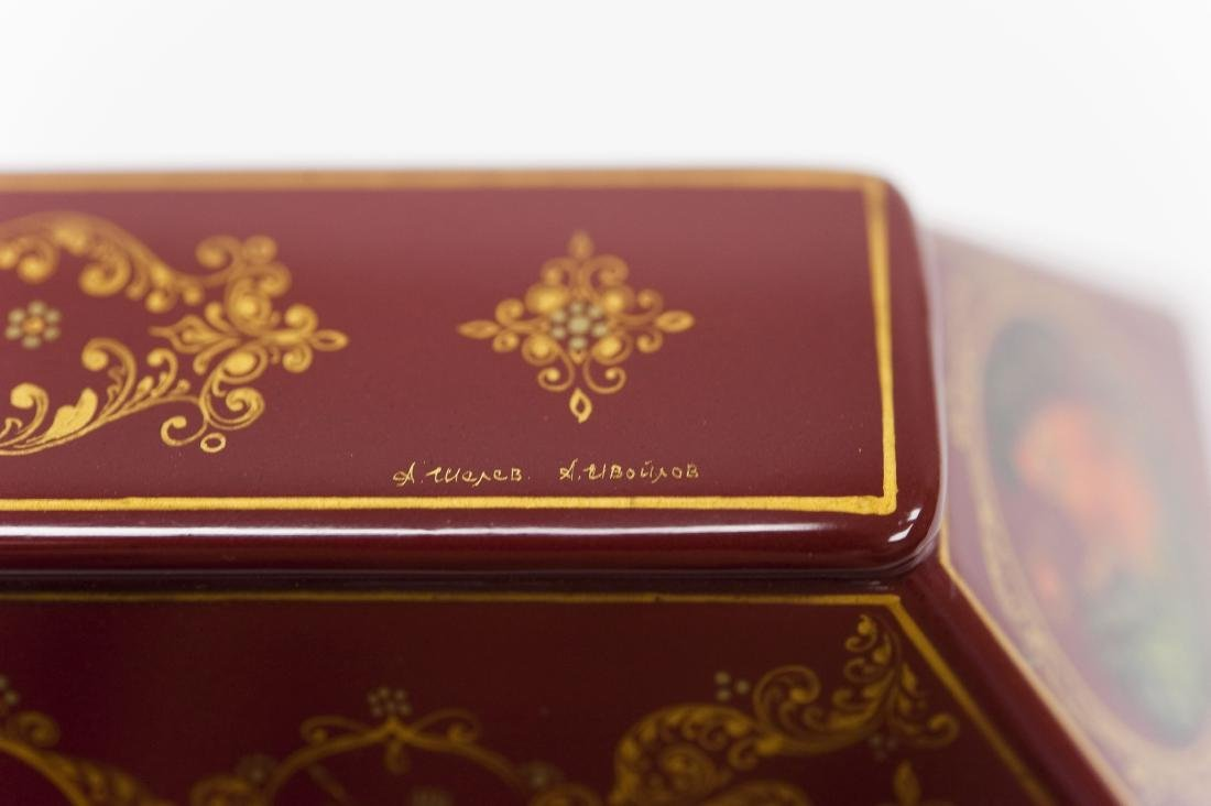 Shelev / Ivoilov Palekh Russian Red Lacquer Box. - 10