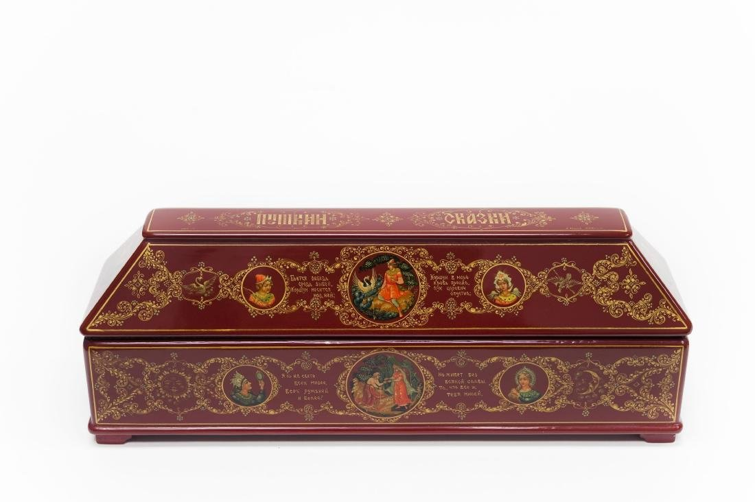 Shelev / Ivoilov Palekh Russian Red Lacquer Box.