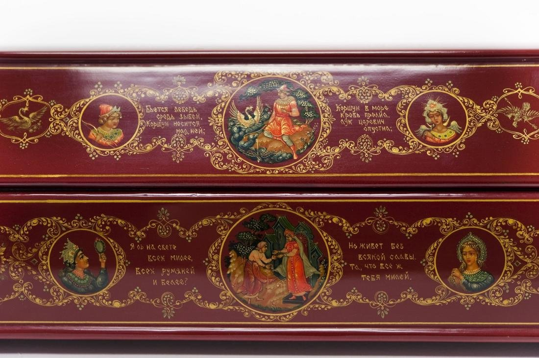Shelev / Ivoilov Palekh Russian Red Lacquer Box. - 6