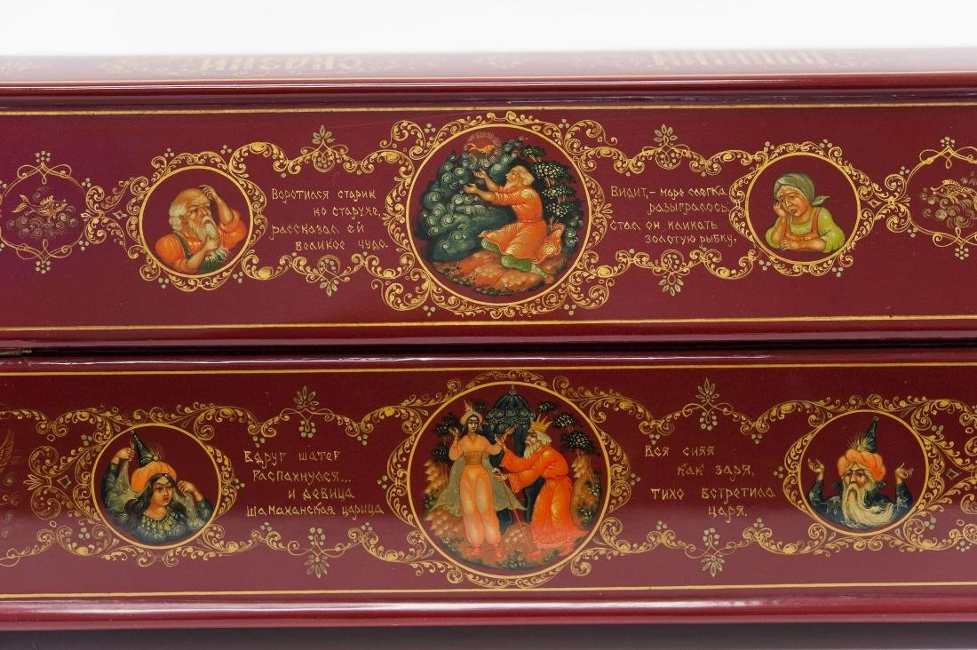 Shelev / Ivoilov Palekh Russian Red Lacquer Box. - 7