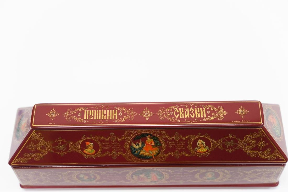 Shelev / Ivoilov Palekh Russian Red Lacquer Box. - 8