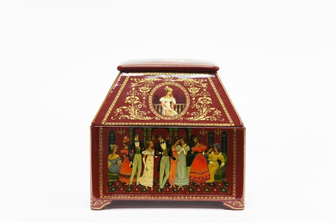 Bolshakova Palekh Russian Red Lacquer Box.