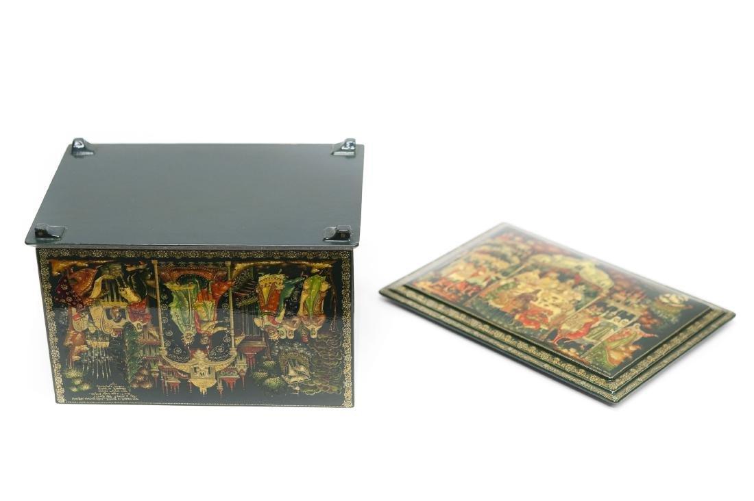 Kraikin Palekh Russian Lacquer Large Box. - 4