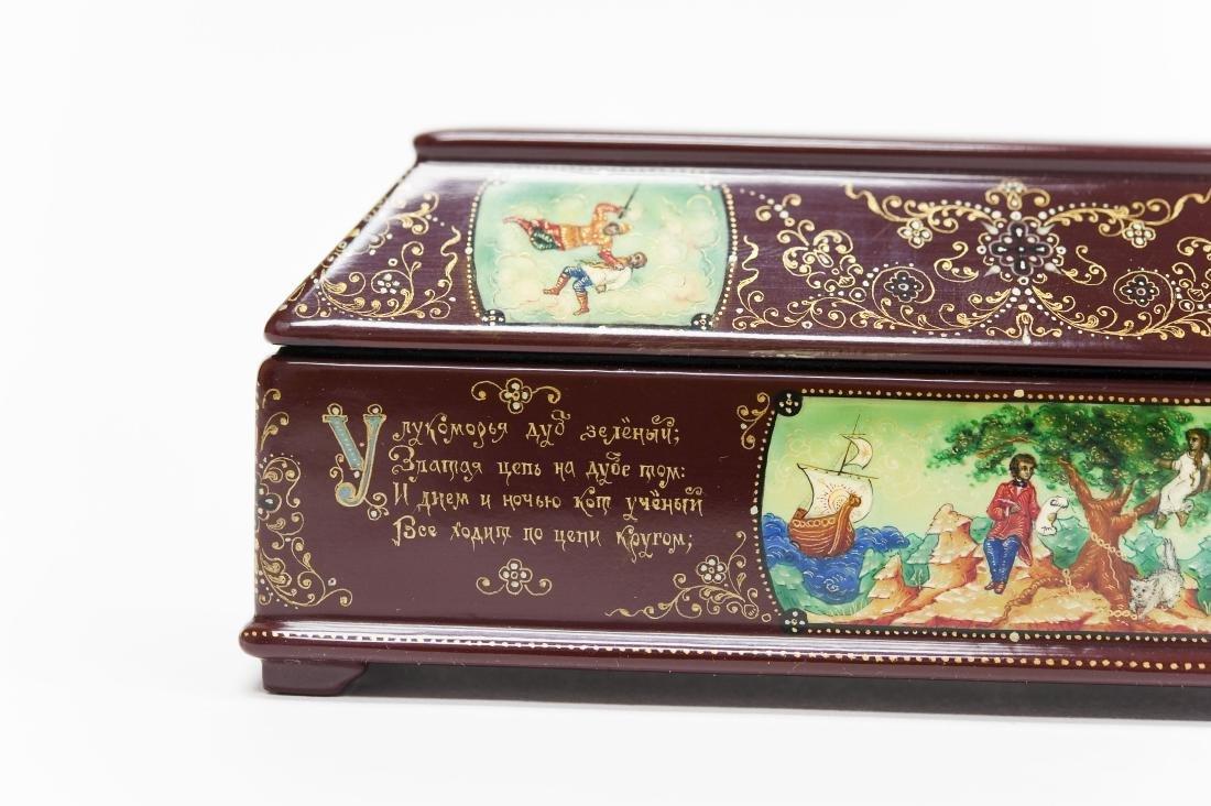 Tsibin Palekh Russian Lacquer Box, Tribute to Pushkin. - 4