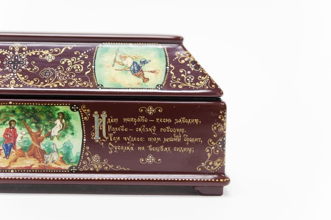 Tsibin Palekh Russian Lacquer Box, Tribute to Pushkin. - 5
