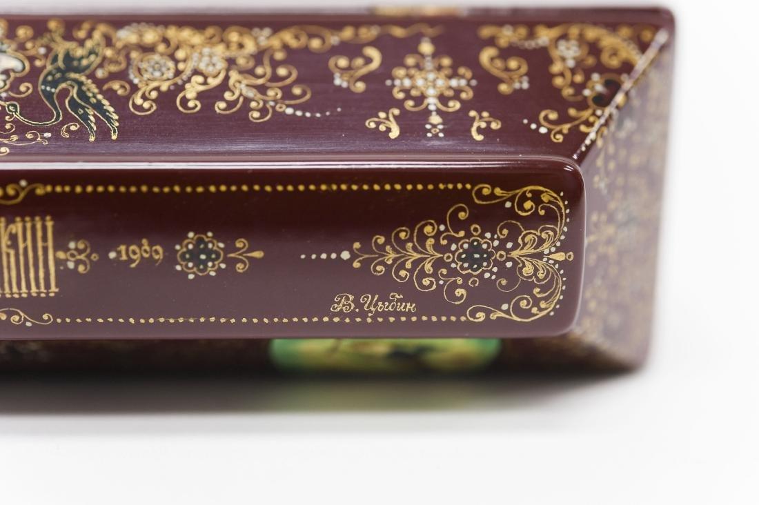 Tsibin Palekh Russian Lacquer Box, Tribute to Pushkin. - 9