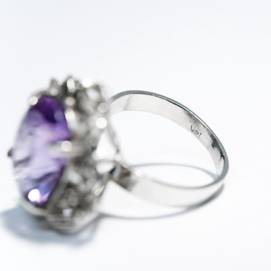 14K White Gold & Amethyst Ring. - 4