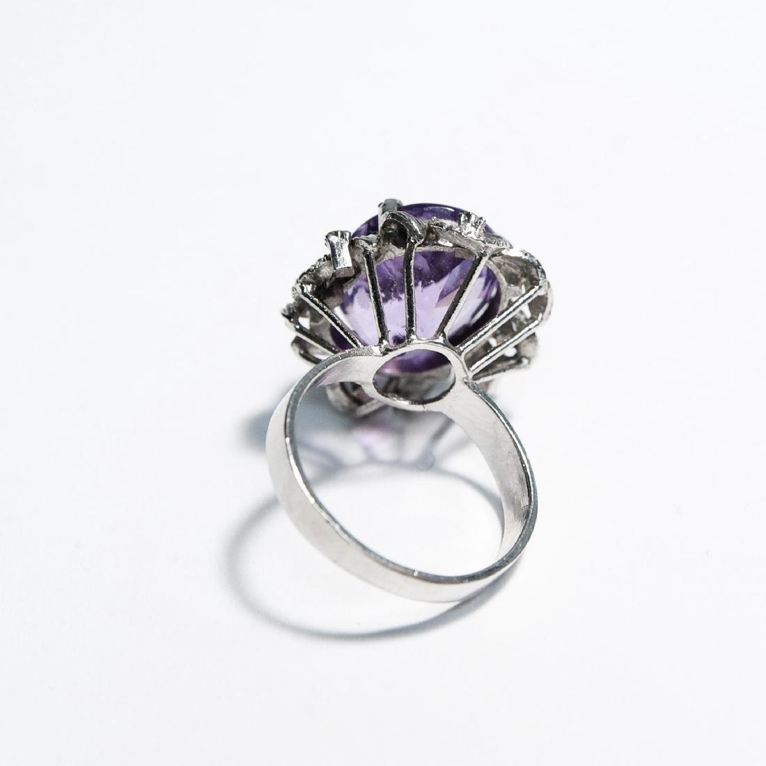 14K White Gold & Amethyst Ring. - 5
