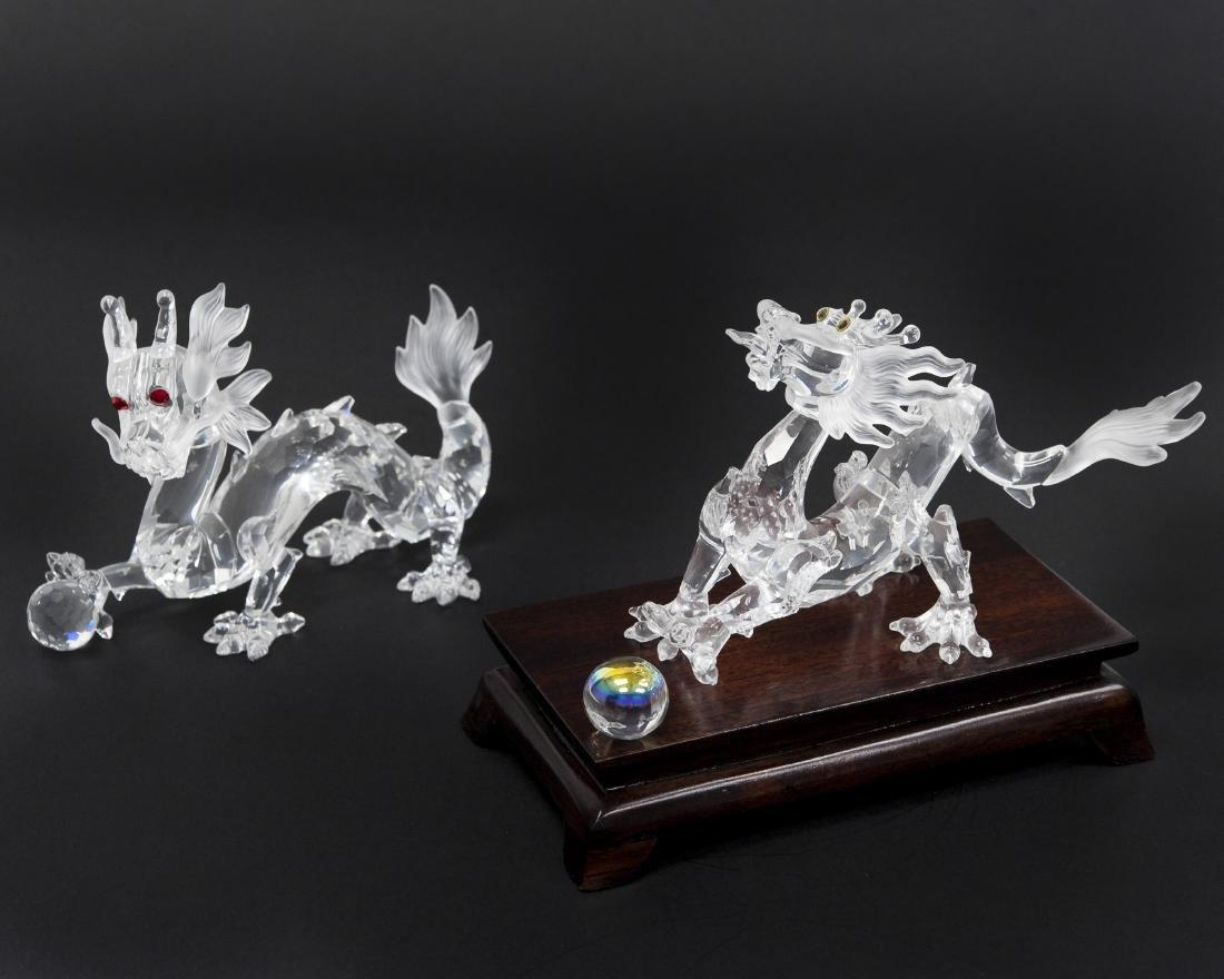 (2) Swarovski Crystal Dragon Figures.
