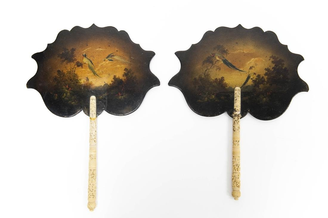 Pair of Chinese Lacquer Bone Handled Hand Fans.