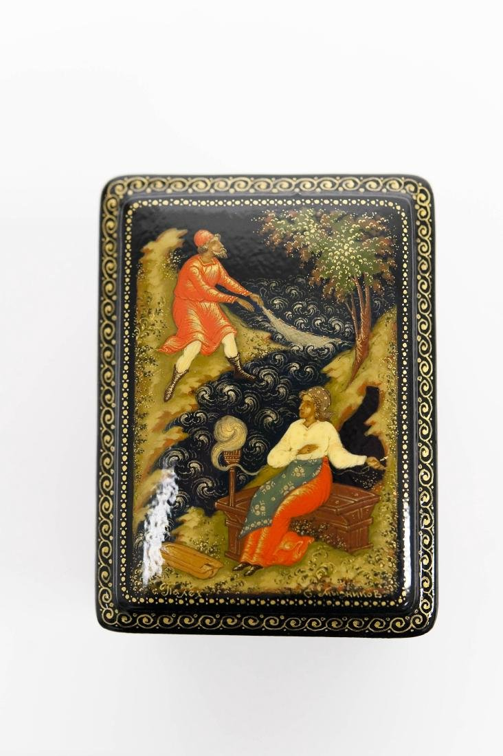 Myznikov Palekh Russian Lacquer Box, Magic Fish. - 4
