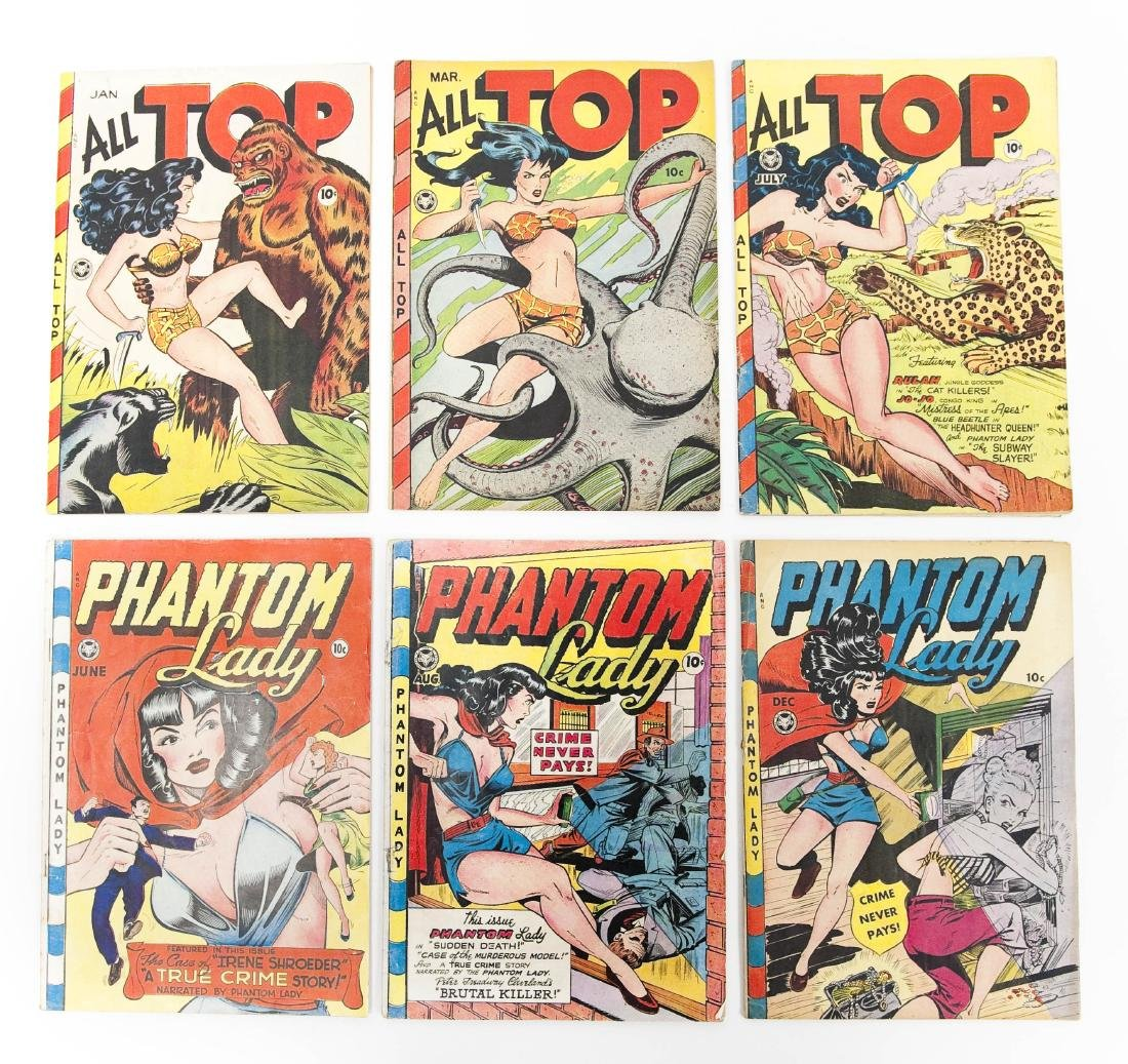 (6) Comic Books, Phantom Lady & All Top.