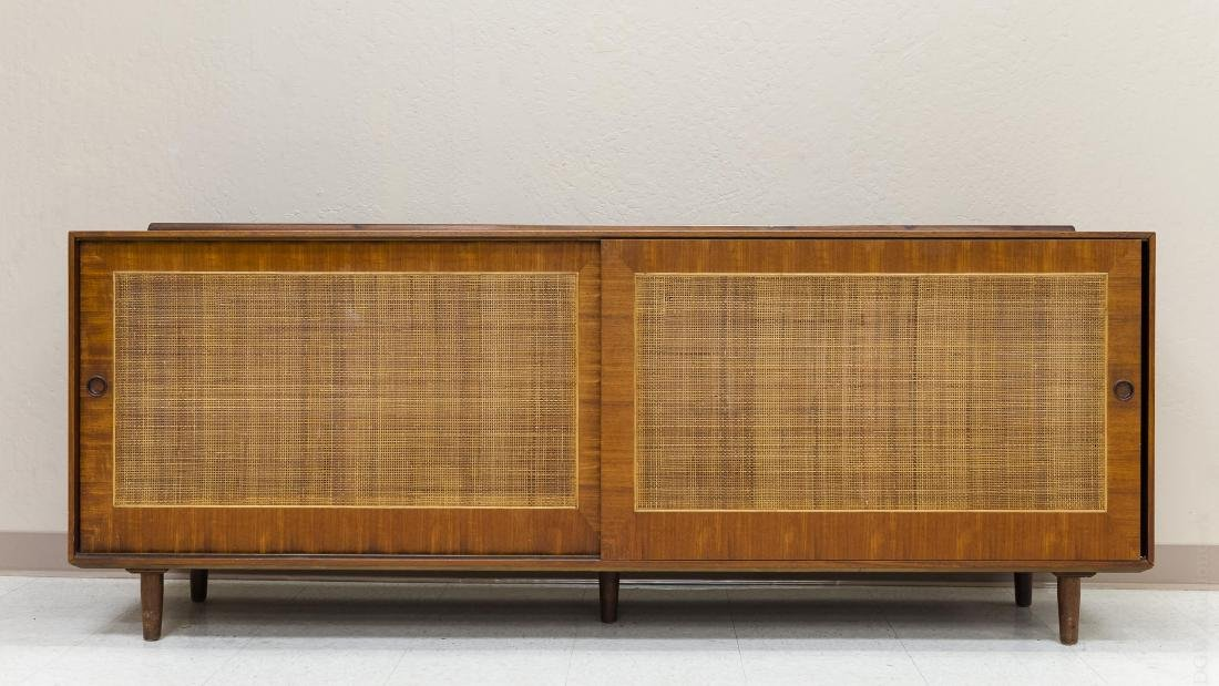 Baker Finn Juhl Design Walnut and Cane Credenza.