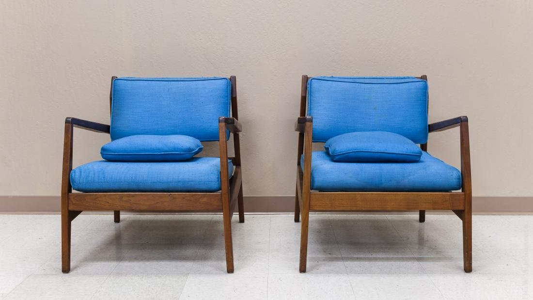 Pair of Jens Risom Design Walnut Lounge Chairs.