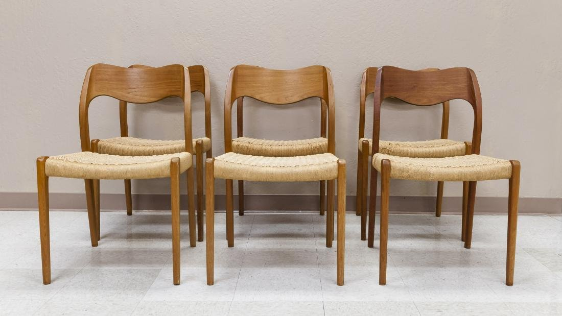 Set of (6) JL Moller Models Teak Side Chairs.
