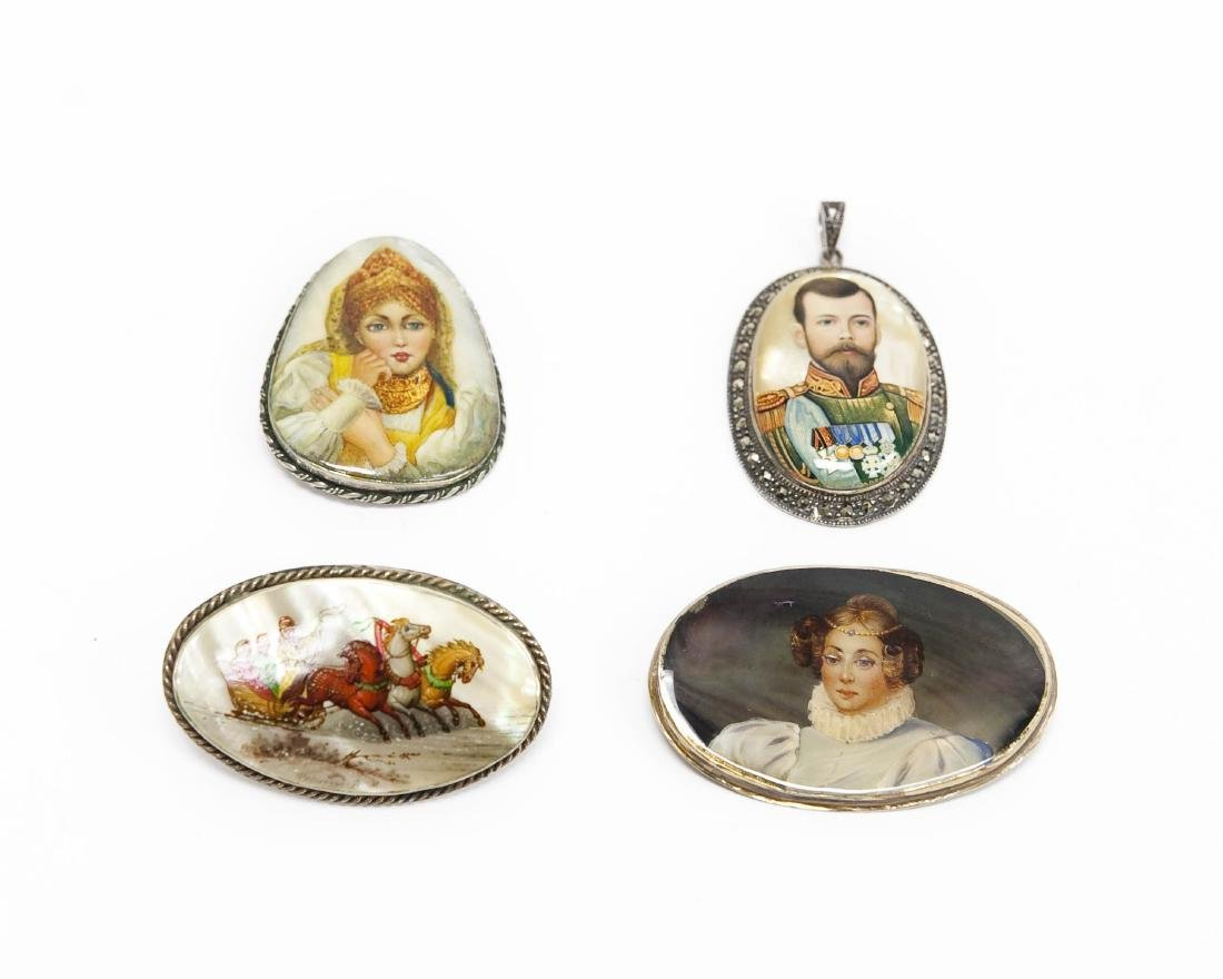 (4) Russian Lacquered Brooches.