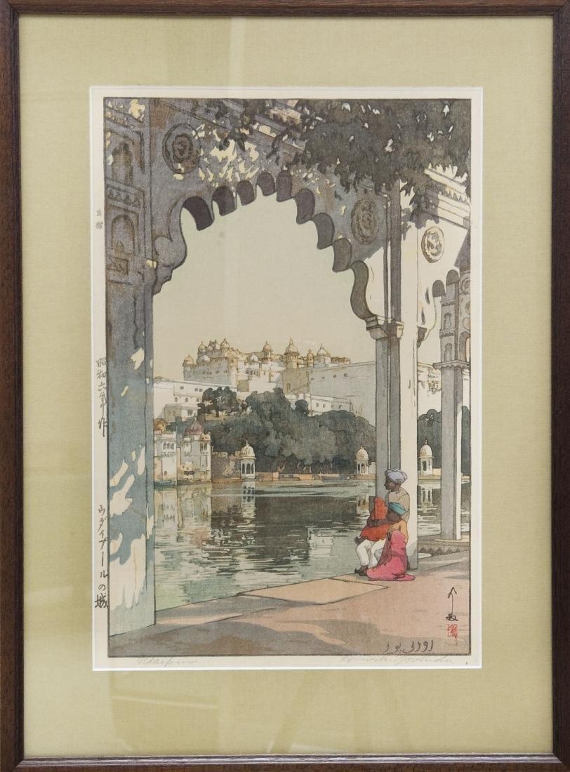 """Hiroshi Yoshida Wood Block Print, """"Udaipur""""."""