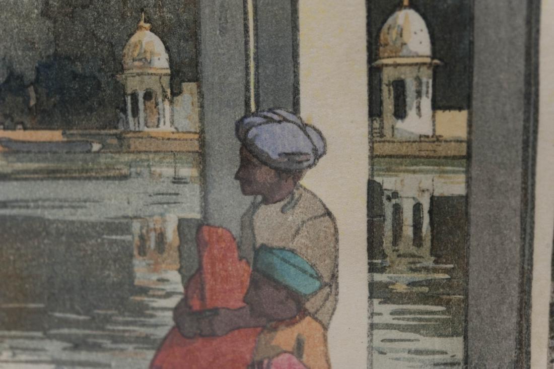 """Hiroshi Yoshida Wood Block Print, """"Udaipur"""". - 7"""