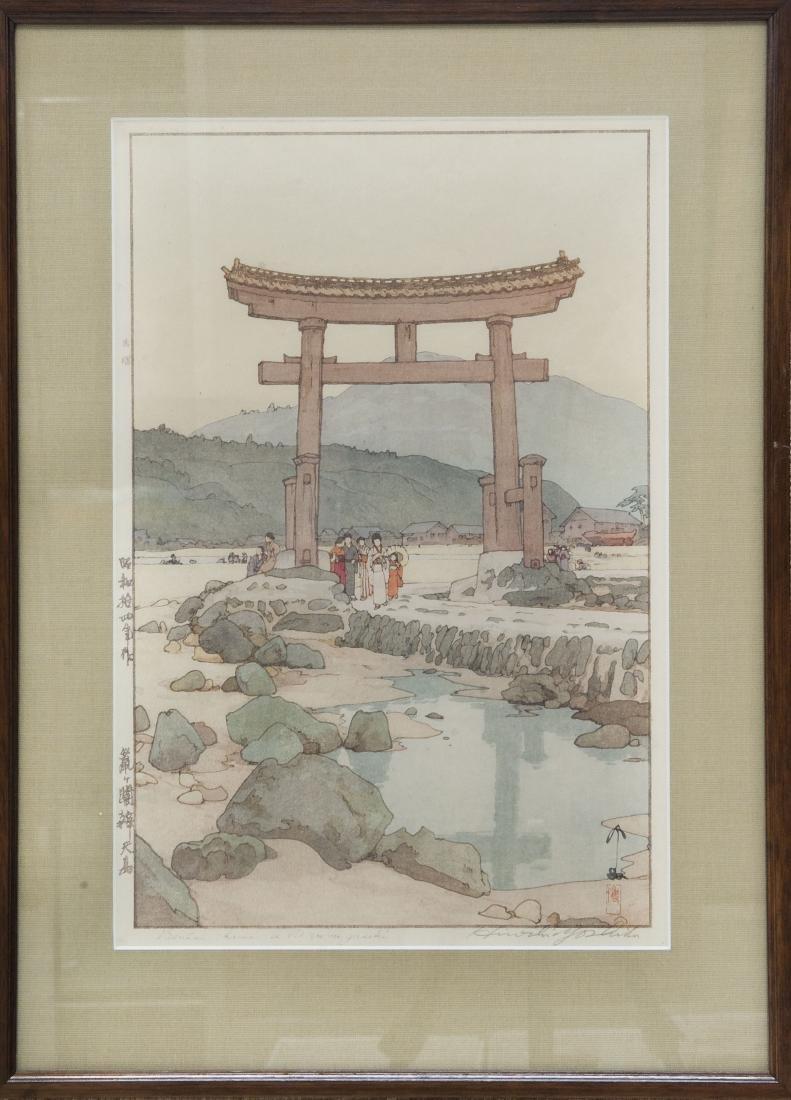 """Hiroshi Yoshida Wood Block Print, """"Benten Shrine at"""