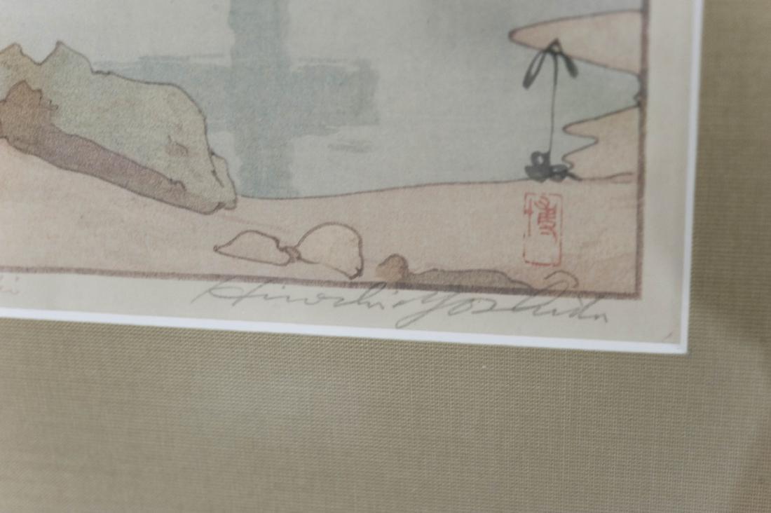 """Hiroshi Yoshida Wood Block Print, """"Benten Shrine at - 6"""