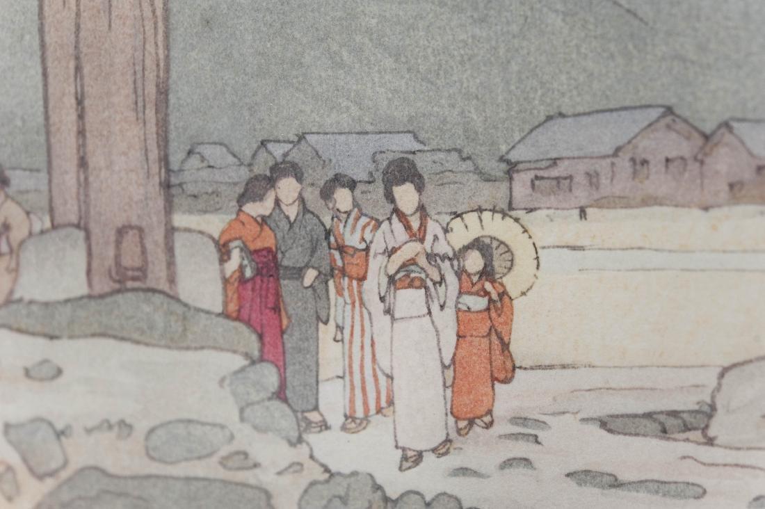 """Hiroshi Yoshida Wood Block Print, """"Benten Shrine at - 7"""