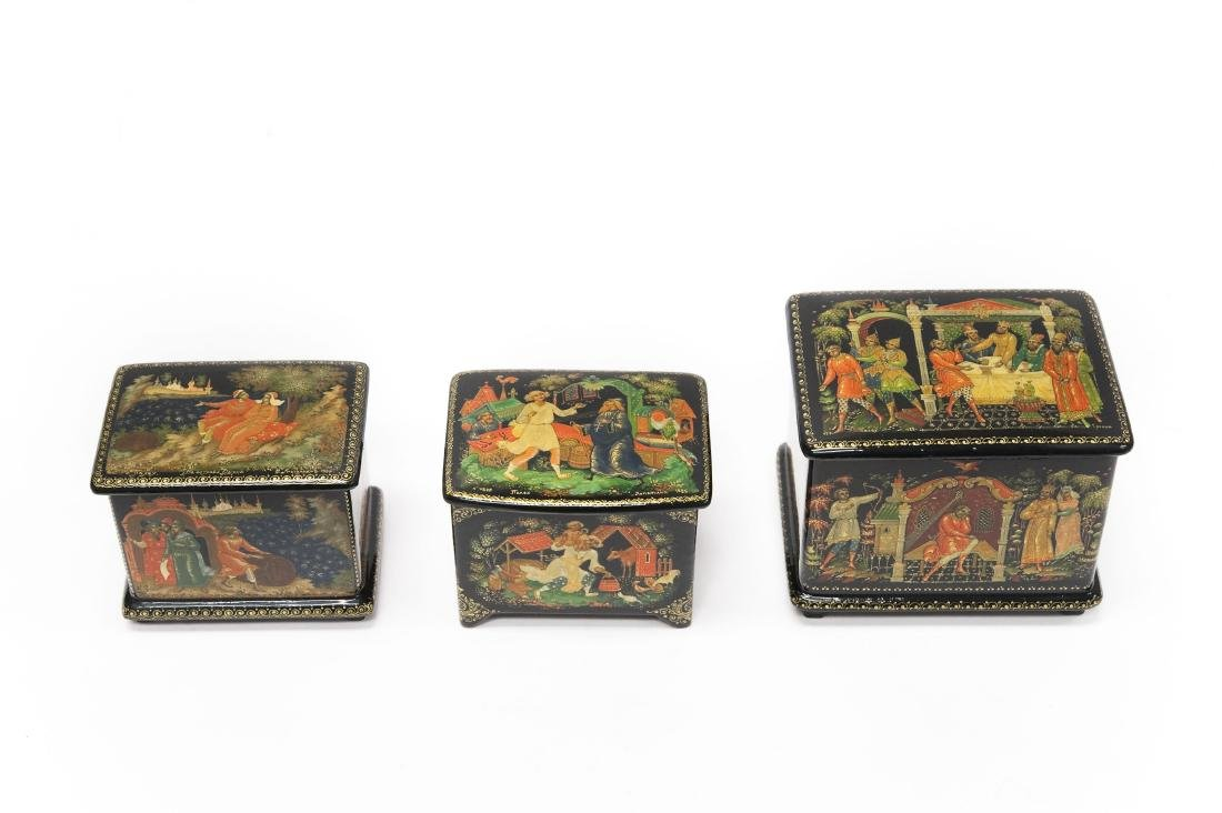 (3) Palekh Russian Lacquer Boxes.