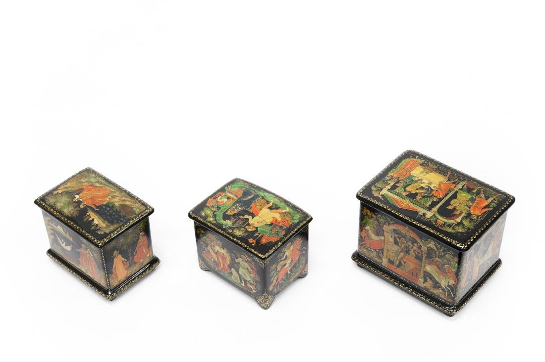 (3) Palekh Russian Lacquer Boxes. - 2