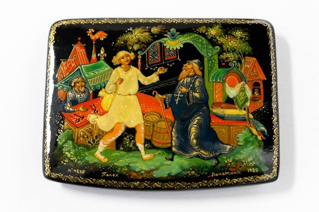 (3) Palekh Russian Lacquer Boxes. - 9