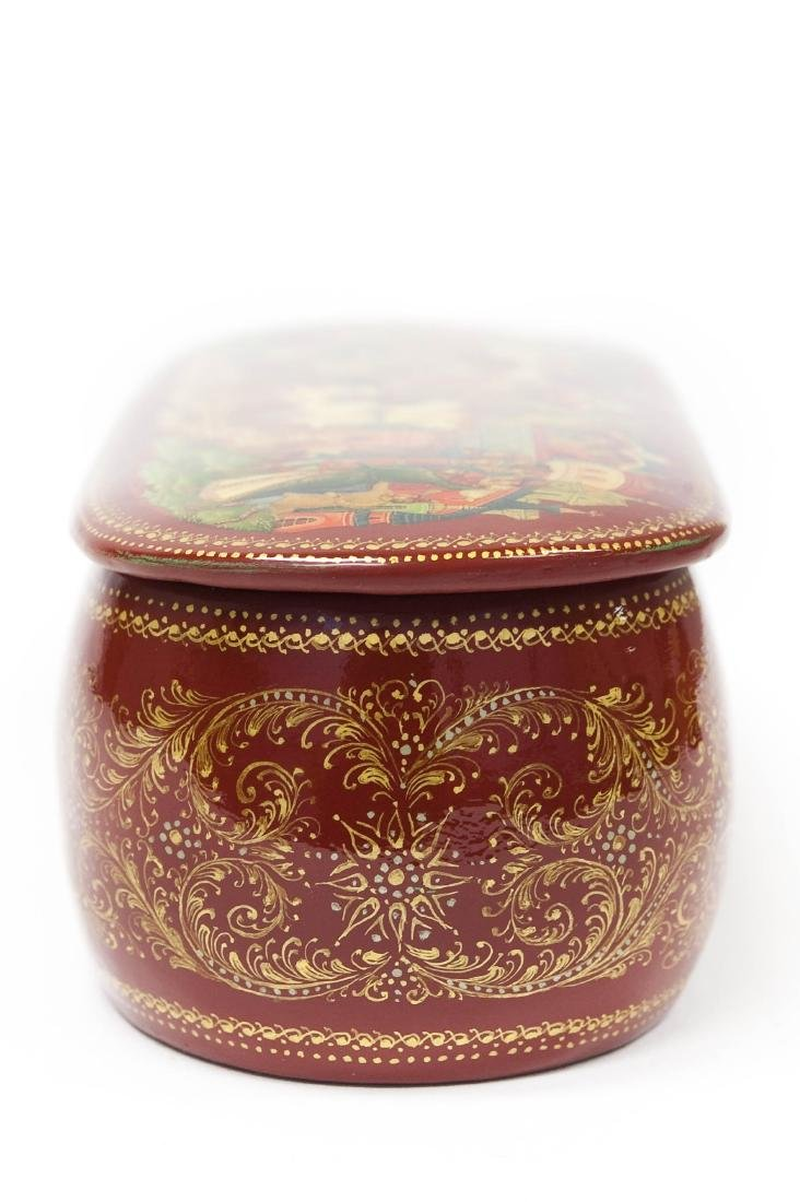 Panov Palekh Russian Red Lacquer Box. - 10