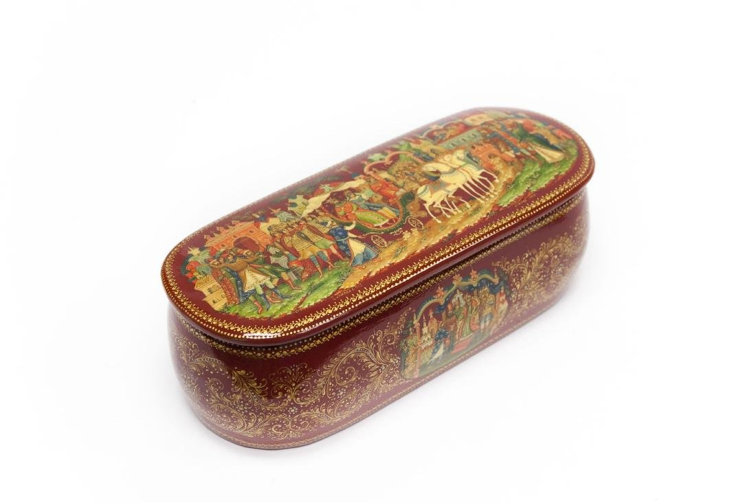 Panov Palekh Russian Red Lacquer Box.